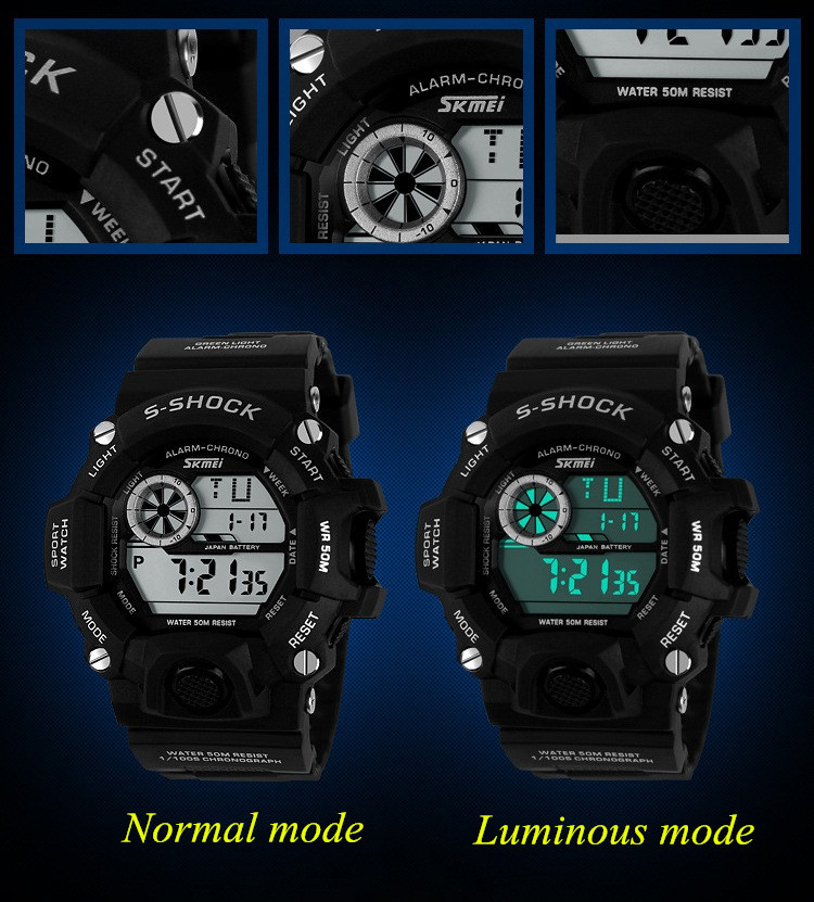 SKMEI Watches Men 50M Waterproof Military Sports LED Digital Watch Multifunction Outdoor Travel Student Wristwatches Camouflage