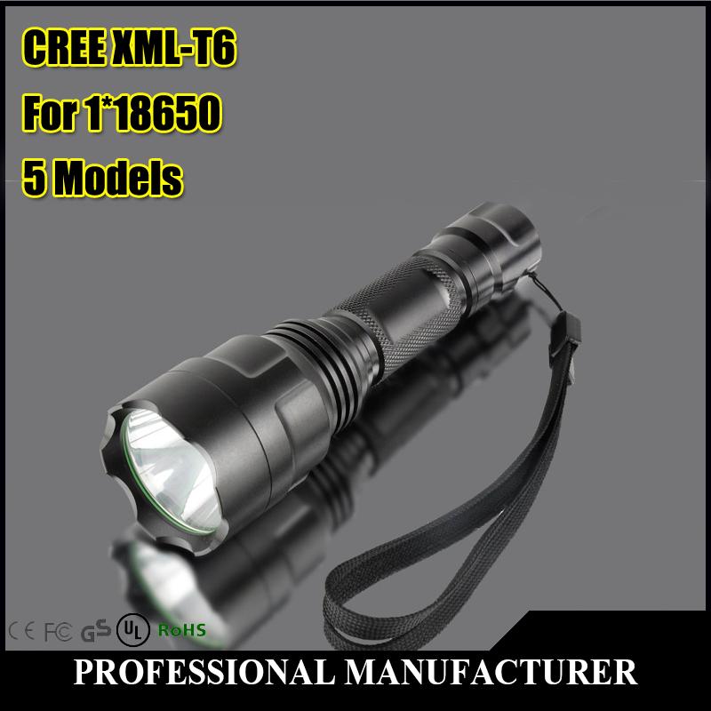 LED Flashlight 2000 Lumens Tactical Flashlight CREE XM-L T6 Five models LED Torch Light 1x18650 Camping Freeshiping(China (Mainland))