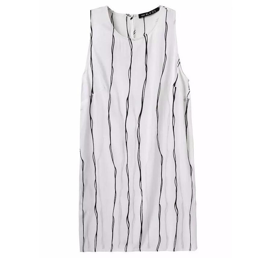 Women white Casual Summer shift Dress Striped Sleeveless mini party Vestido Feminino De Festa Branded dress(China (Mainland))