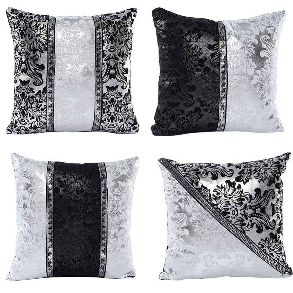 vintage black silver throw pillow cushion cover sofa home car decor in cushion cover from