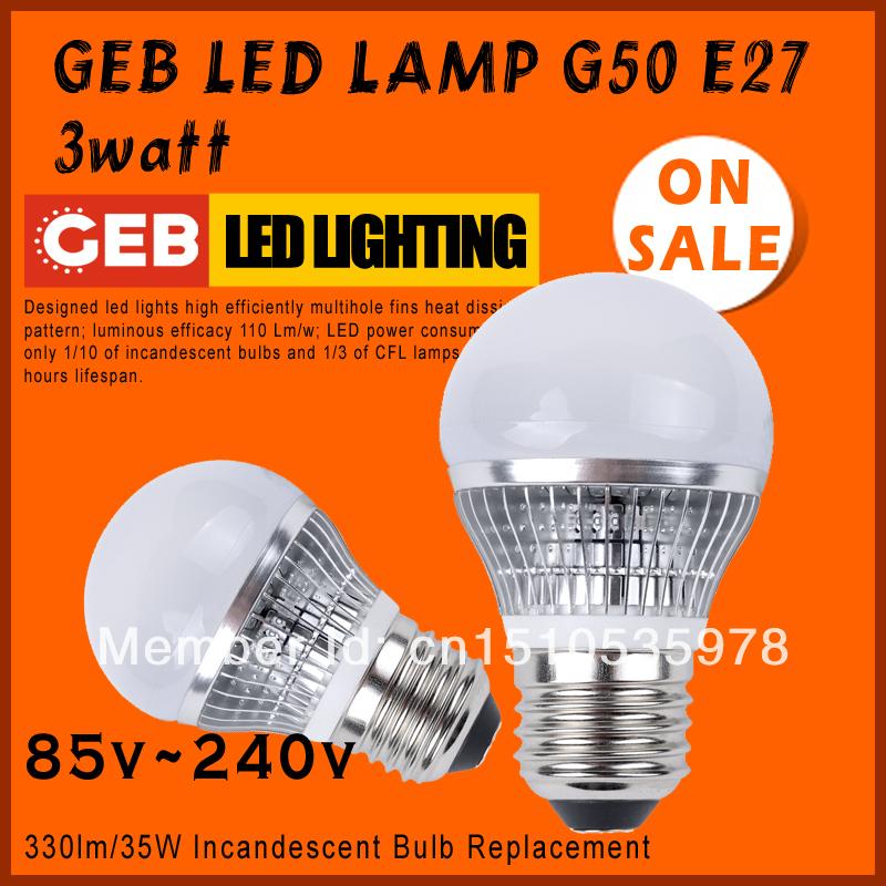 "GEB ""Smart"" High brightness LED Bulb Lamp E27 5730SMD Epistar G50(A17) 3watt 110v~220v 360lm 35W Incandescent Bulb Replacement(China (Mainland))"
