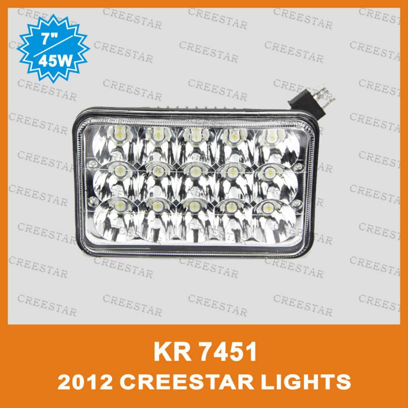"""7"""" 45W high beam /Low beam in the one LED truck lights used for Kenworth trucks KR7451 4PCS/LOTS DHL FREE SHIPPING creestar led(China (Mainland))"""