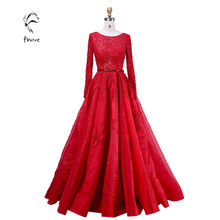Elie Saab Evening Dresses Elegant with Long Sleeve Crystal Beading Scoop-Neck Sashes Lace Ball Gown Prom Dresses Fast Shipping(China (Mainland))