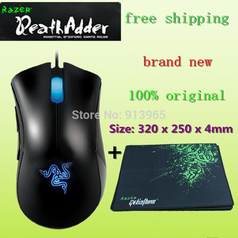 Brand NEW original Razer Deathadder mouse Gaming Mouse, 3500dpi ,razer Goliathus Mouse pad /Size: 320 x 250 x 4mm+free shipping(China (Mainland))
