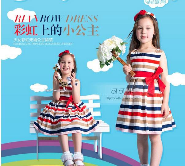 New 2014 Summer Childrens Clothing Baby Girl Mini Fashion Brand Style Printed Striped Bow Vest Dress kids Princess Dress/4-8old<br><br>Aliexpress