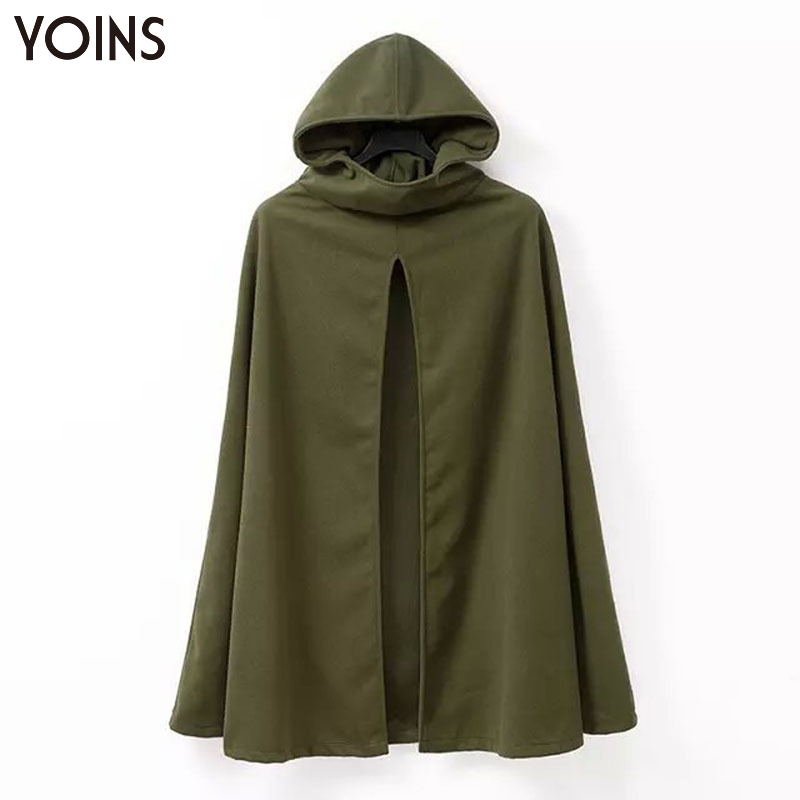 YOINS 2016 Winter Fashion Women Wool Blend Cape Hooded Trench Coat Casual Cloak Long Outerwear Poncho Hooded Jacket Cape Warm(China (Mainland))