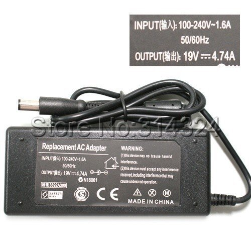 Free Shipping Power Adapter Charger AC 100-240V to DC 19V 4.74A Adapter for Lenovo Laptop