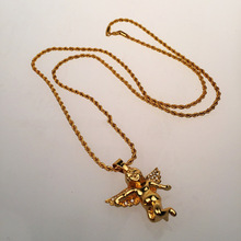 2016New Sale high quality Fashion brand jewelry Hip hop crystal Angel pendant Gold necklaces pendants for Men Gift Free Shipping(China (Mainland))