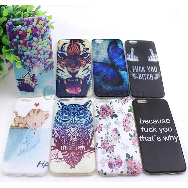 new cute cat kiss fish tiger owl pattern painting Soft TPU Case For Apple iPhone 6 Back Skin Cover Cell Phone Protective 02