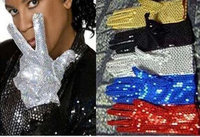 Free Shipping Cheap Adult Acting Michael Jackson Gloves MJ Sequins Performing Gloves in Stage Gloves