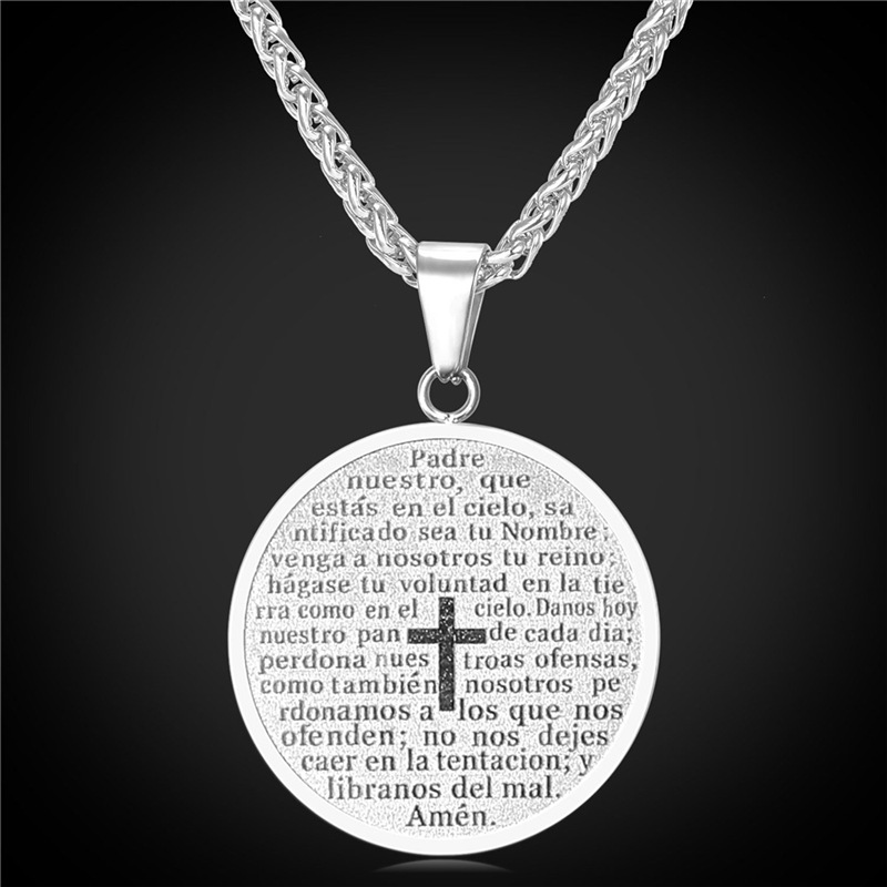 Woman Men Jewelry Round Shape Cross Pendent & Necklace Gold Plated Stainless Steel Pendent Necklace Crucifix Wholesale P2080(China (Mainland))