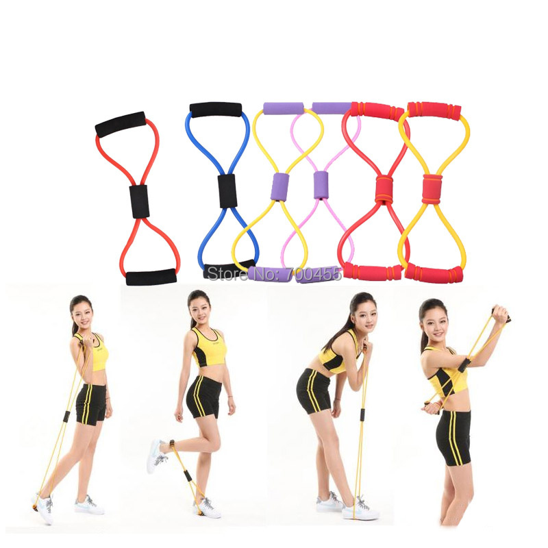 Yoga Pilates Sport equipment 8 shaped tubing Fitness Resistance Bands Latex Exercise Tubes Elastic Training Rope - Perfect Sunshine store