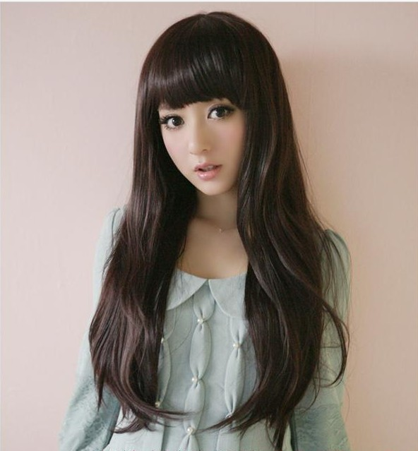 Non-mainstream fashion women's wig hair curly hair long bangs qi fake hair black brown