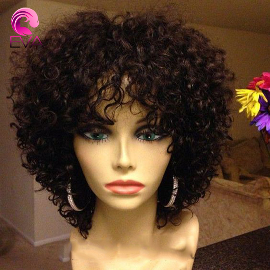 7A Kinky Curly Glueless Full Lace Human Hair Wigs,Virgin Hair Brazilian Full lace Wig For Black Women,Kinky Curly Lace Front Wig()