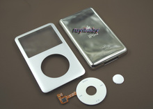 full set silver front faceplate metal back housing case cover white click wheel central button for ipod 6th gen classic 80gb(China (Mainland))