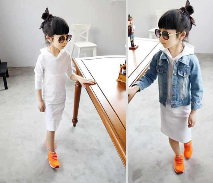 2015 autumn kids dresses long sleeved hooded girls dress cotton white lady clothing children dress A sytle new fashion qk 167(China (Mainland))