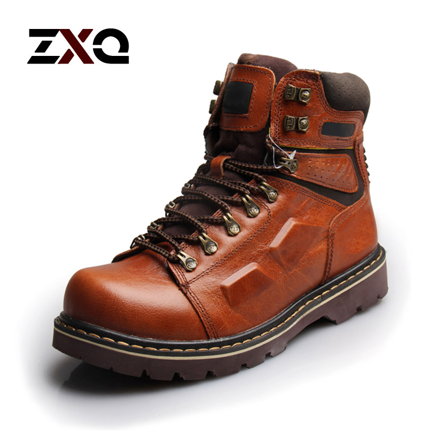 New 2015 Winter Men Boots Best Quality Men Genuine Leather Snow Botas Fashion Outdoor Military Retail(China (Mainland))