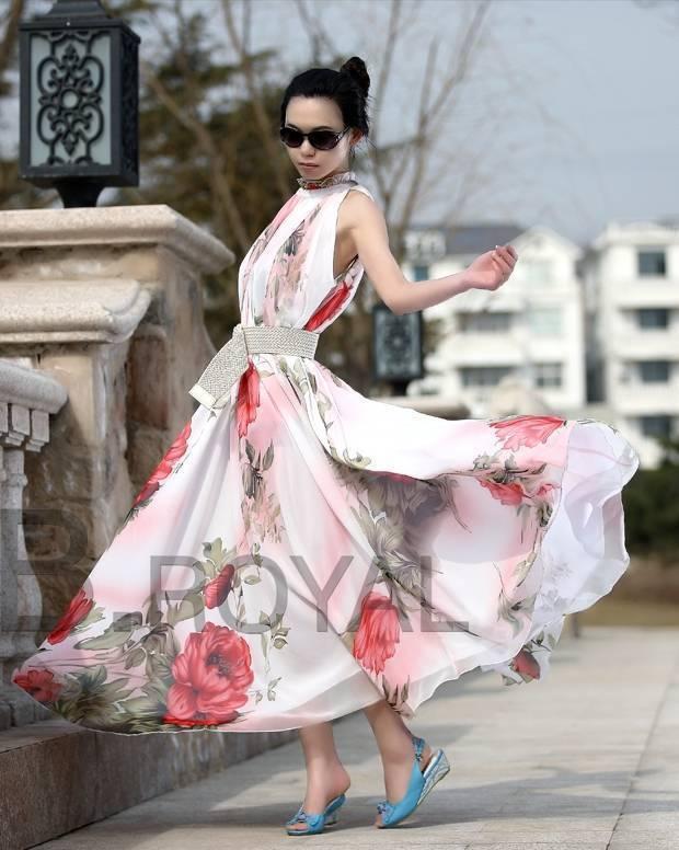 colorful long bohemian beach full dress halter-neck chiffon plus size one-piece dresses new fashion 2014 - Beauty Co. Ltd store