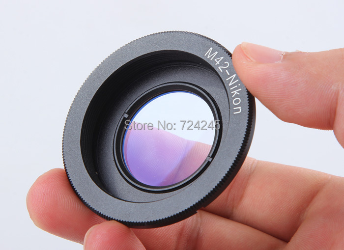 Wholesale Lens Adapter M42 Lens to Nikon AI Mount Adapter Converter Optic Focus Infinity (with glass)(China (Mainland))