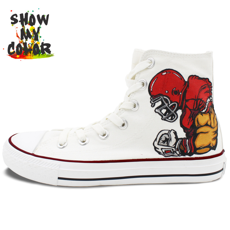 Custom Hand Painted Converse Shoes Rugby Football High Top All Star Canvas Sneaker for Men Women(China (Mainland))