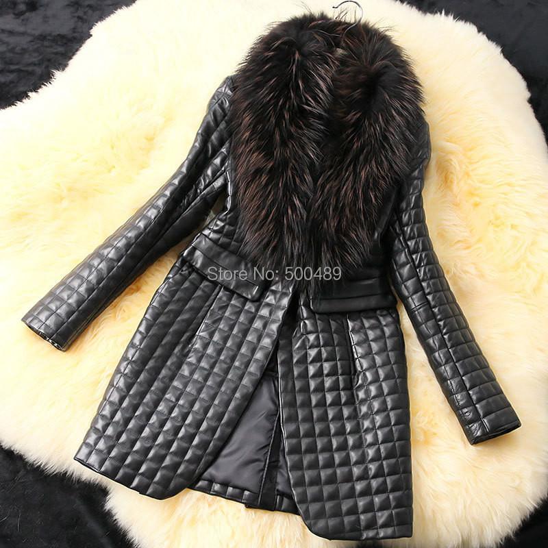 2014 New Winter Autumn Women Elegant Faux Leather Grass Coats Faux fur jacket Women's Fashion Long Coat(China (Mainland))