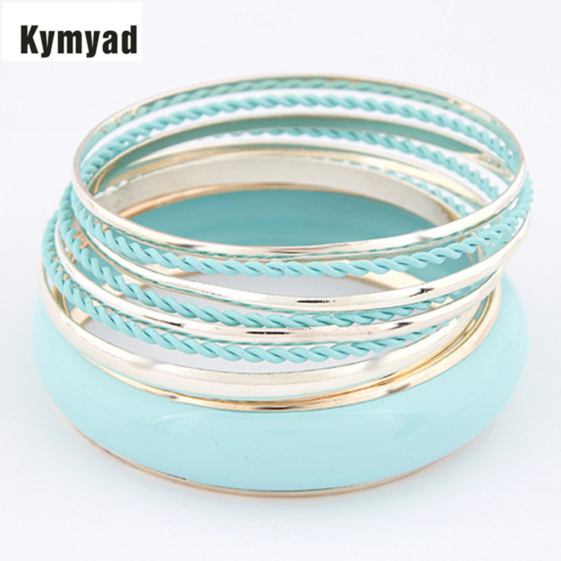 Kymyad Bangle Sets For Women Enamel Bangles sets Charm Multilayer Bracelets Bangles Fashion Cute Bracelet New pulseras(China (Mainland))