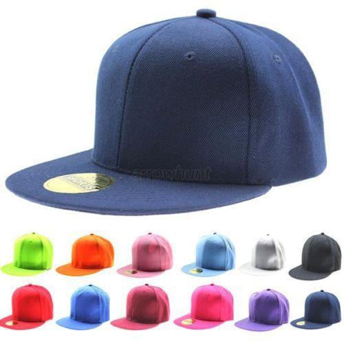 Unisex Solid Hip-Hop Baseball Cap Snapback Flat Fitted Hat Adjustable Visor Sunhat Adult&Kids(China (Mainland))