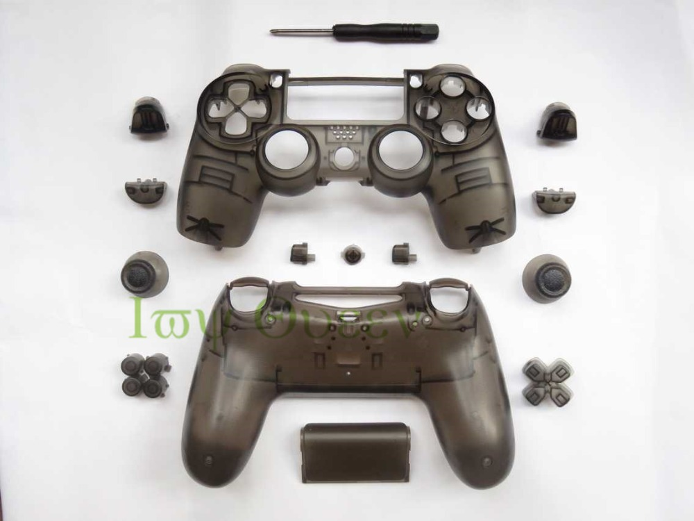 IVY QUEEN New Transparent Clear Black Replacement Housing Shell and buttons Mod Kit for Sony Dualshock 4 PS4 Wireless Controller(China (Mainland))