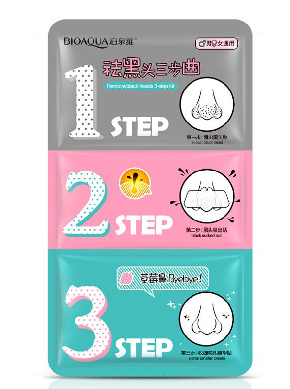BIOAQUA 3 Paso Remover La Espinilla Kits Para Encoger Poros Limpios Nariz tiras para Mujer/Hombre Zona T Cuidado Conjunto rimel preta cravos acné(China (Mainland))