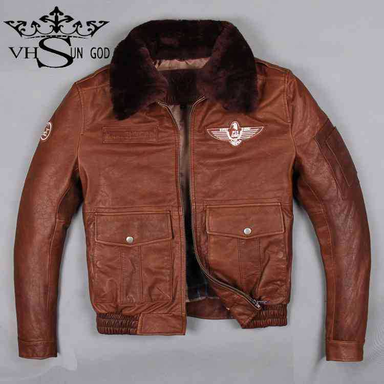 Free shipping Top quality Imported thick cowhide Air Force flight suit leather Gorgeous Lamb fur collar Pilot leather jacket Men(China (Mainland))
