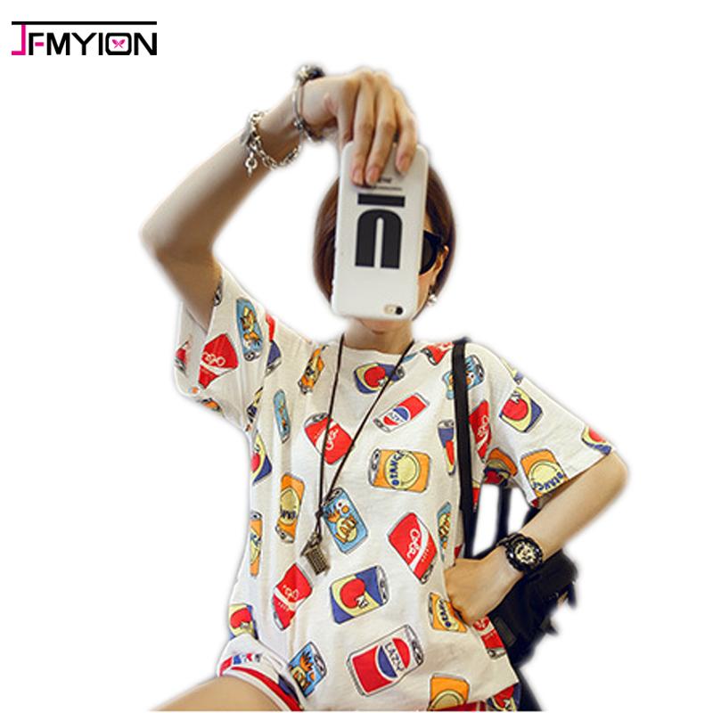 2017 summer korean can print roupa tee shirt femme clothes for women female tshirts tumblr poleras camisetas mujer t-shirt(China (Mainland))