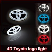 New car 4d led emblem badge sticker lamp for toyota RAV4 REIZ PRADO COROLLA CROWN YARIS VIOS Highlander camrys 4d led logo light(China (Mainland))