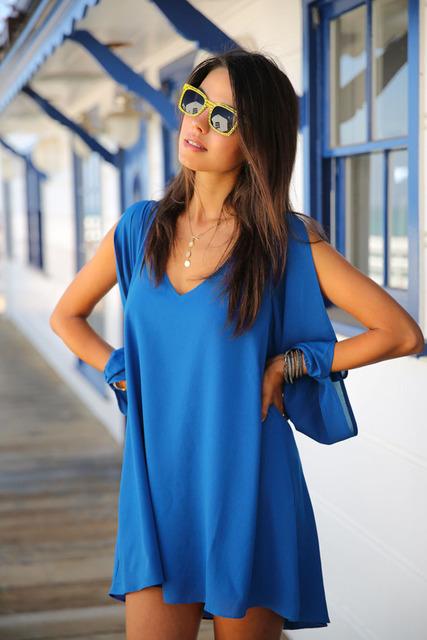 New Swing dress 2015 summer Beach Style women dress Chiffon Leisure Mini Skater Jersey Dress sexy dress LC21647 M L XL plus size