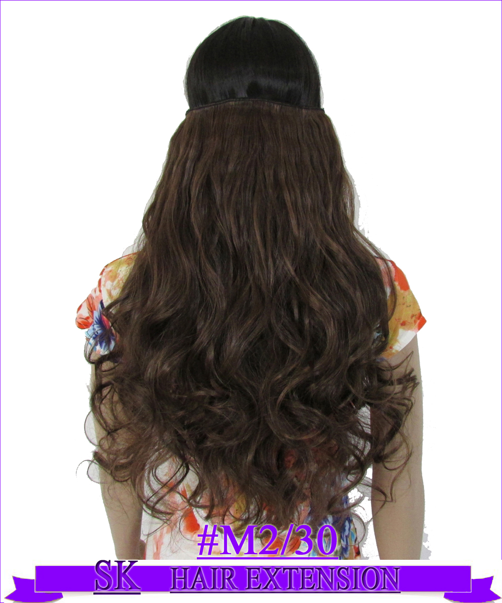 24 (60cm) 130g body wave 5 clips on hair extension hot resistant clip in hair extensions Color #M2/30 Mix colors<br><br>Aliexpress