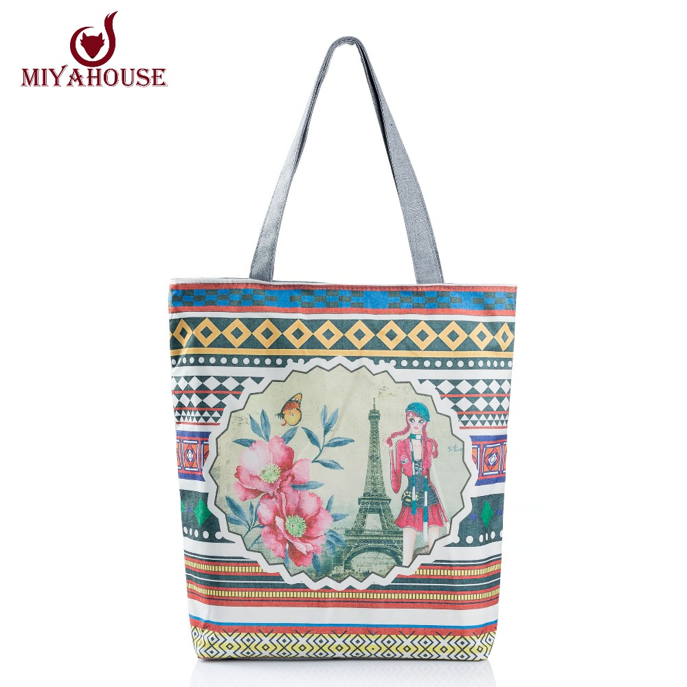 European Style Women Canvas Handbags Tote Floral And Tower Printed Beach Bags For Female Single Shoulder Shopping Bag Bolsas(China (Mainland))