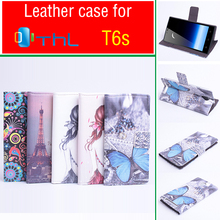 Painted Fashion THL T6S Case Cover With Wallet , Good Quality Leather Case + Hard Back cover For THL T6S Cellphone cover