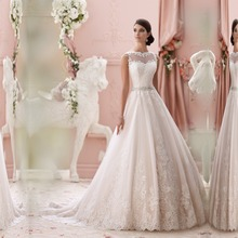 SL-020989 Modest A-line Sweetheart Appliqued Lace Beaded Belt Backless Wedding Dress(China (Mainland))