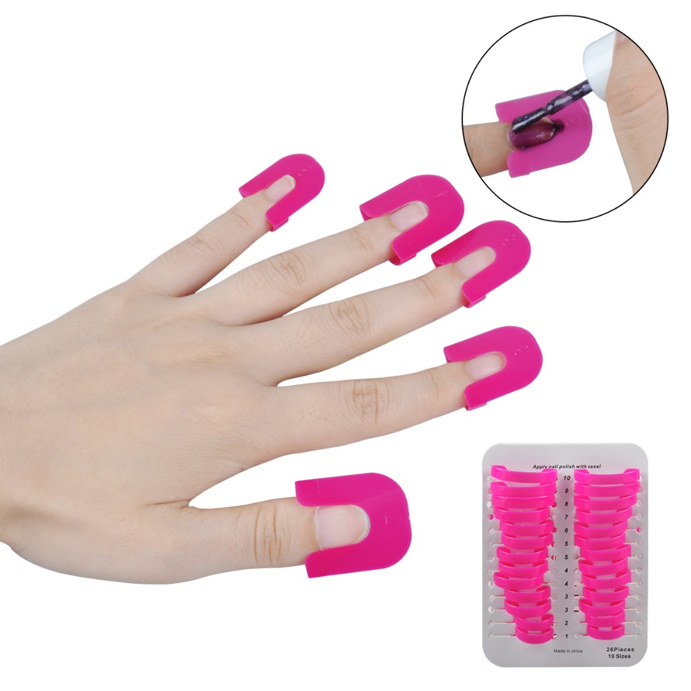 26PCS/pack Professional French Nail Art Manicure Stickers Tips Finger Cover Polish Shield Protector Plastic Case Salon Tools Set(China (Mainland))