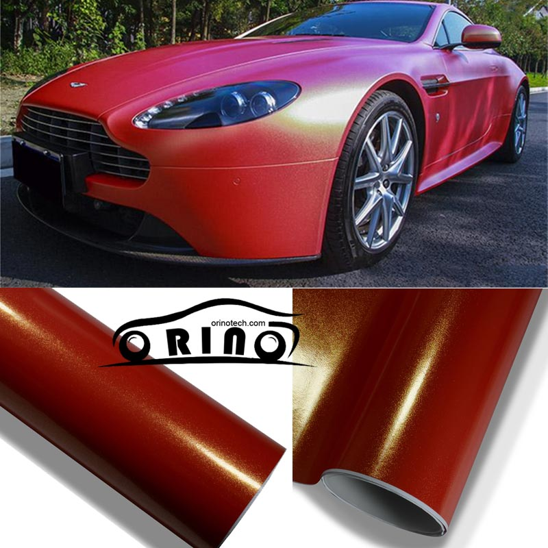 Red Matte Metallic Vinyl Wrap Car Wrapping Film With Air channel Gloss Red Pearl metallic Size:1.52*20M/Roll (5ftx66ft)(China (Mainland))