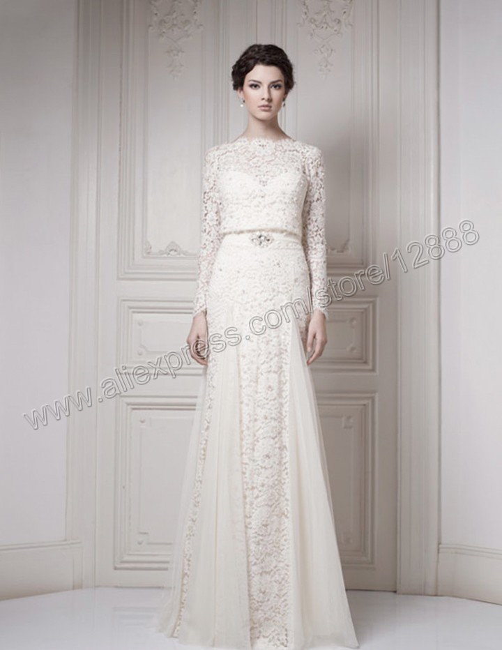 The ivory tulle and lace floor length muslim wedding dress for How to get a free wedding dress