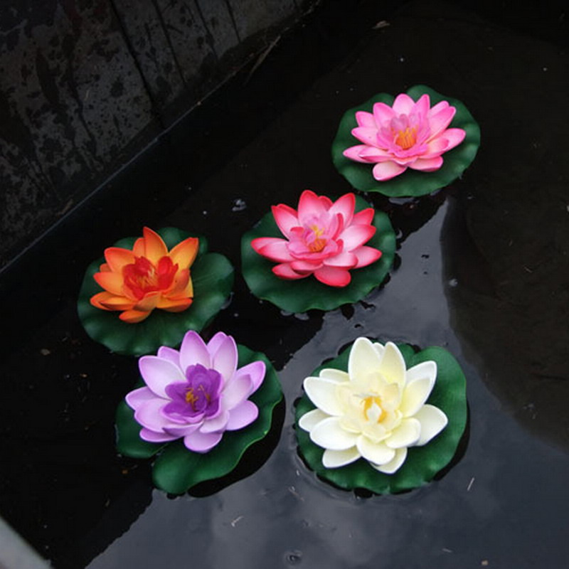1PC Floating Artificial Lotus Ornament for Aquarium Fish Tank Pond Water lily Lotus Artificial Flowers Home Decoration VBQ48 P50(China (Mainland))
