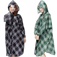 Hot Selling Women Rain Coat Plaid Outdoor Travel Waterproof Riding Clothes Raincoat Poncho Hooded Knee Length Rainwear