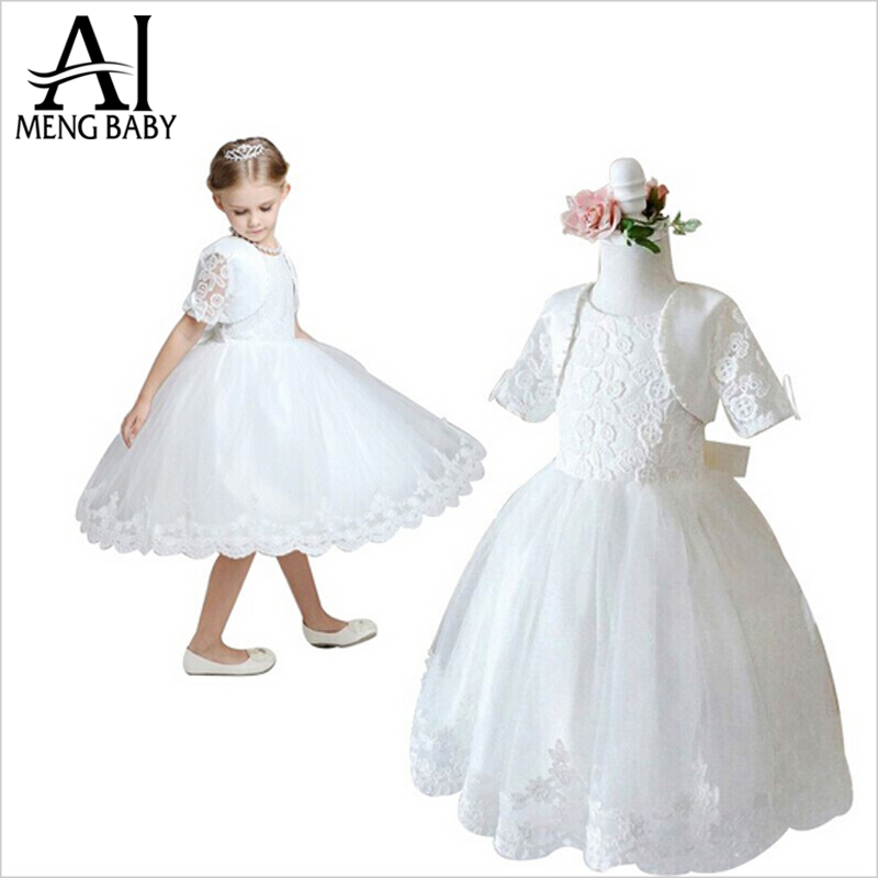 2017 Children new Vanity girls dresses for pageant dance party ceremonies girl white dress for wedding girl clothes jacket+dress(China (Mainland))