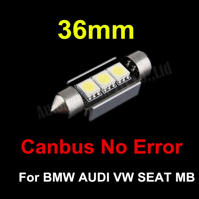CANBUS Error Free C5W 36mm Festoon Cold White 3 SMD DE3423 6418 3LED 12v Car Interior