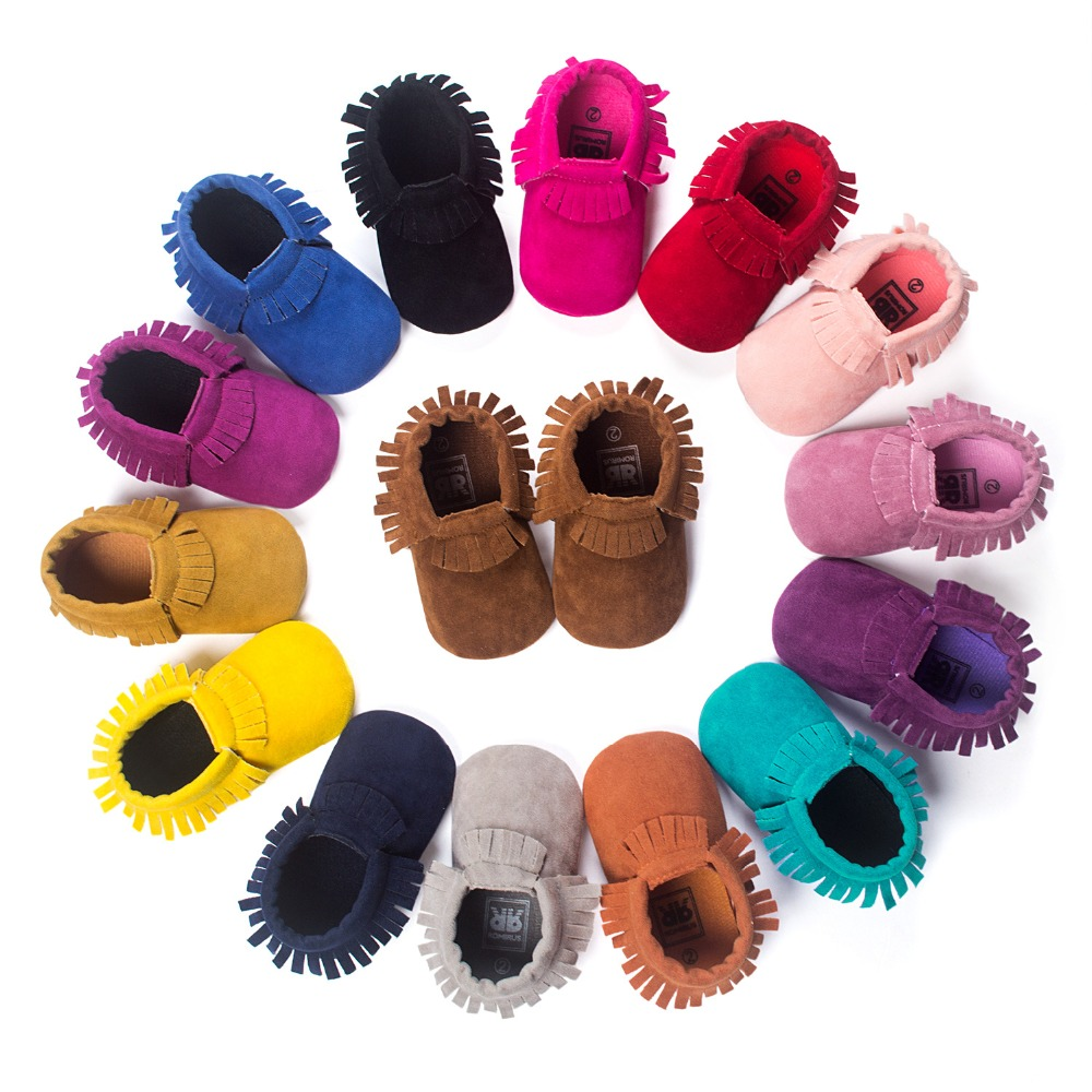 PU Suede Leather Newborn Baby Boy Girl Baby Moccasins Soft Moccs Shoes Bebe Fringe Soft Soled Non-slip Footwear Crib Shoes(China (Mainland))