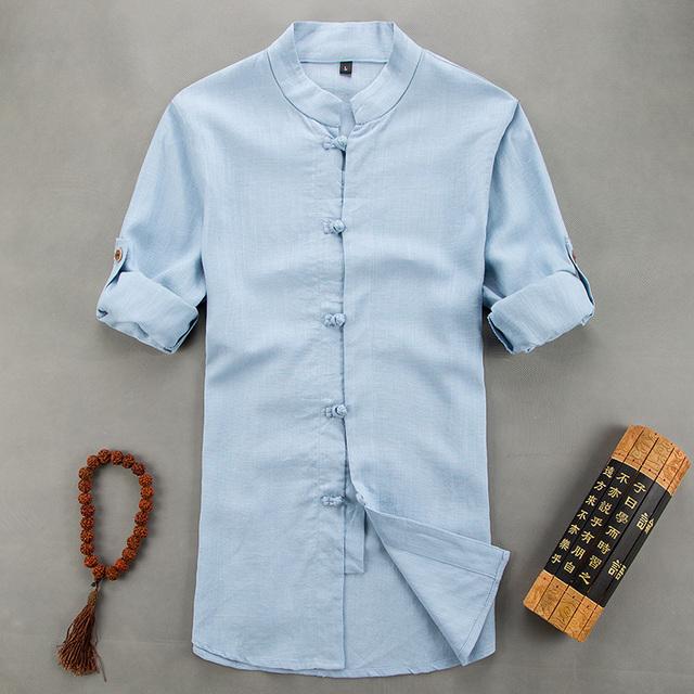 Новые люди свободного покроя с коротким рукавами рубашки мужчины традиционный китайский ...