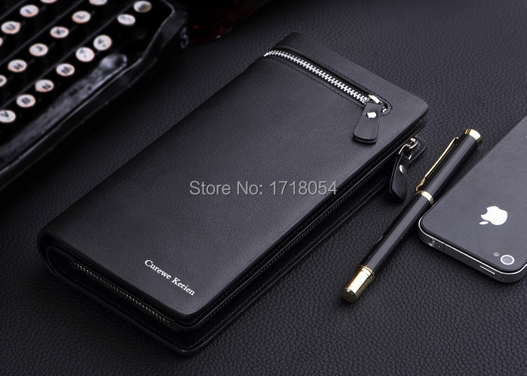 2015 New Business Wallet Men's Long Zipper Purse Genuine Leather Section Of The Multicard Handbag Fashion Commerce Men Wallets(China (Mainland))