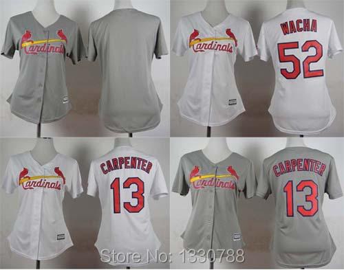 #13 Matt Carpenter #52 Michael Wacha Womens Cardinals Jersey Stitched Blank St. Louis Cardinals Baseball Jerseys Gray White Red