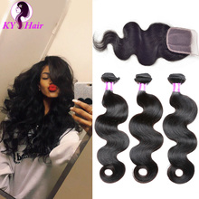 7A Brazilian Virgin Hair With Closure Ms Lula Hair 3 Bundles With Closure 100% Human Hair Brazilian Body Wave With Closure(China (Mainland))
