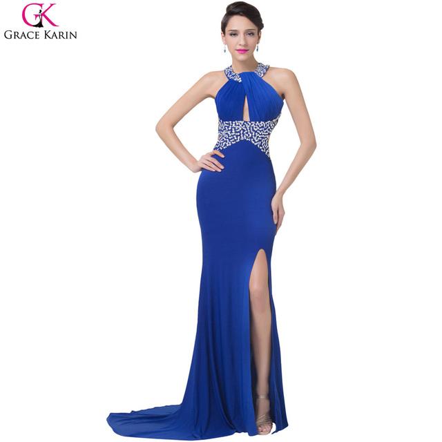 Длинные русалка вечернее платье грейс карин щелевая сторона королевский синий ну вечеринку платья Bodycon пересечь назад спинки женщины вечерние платья CL6277